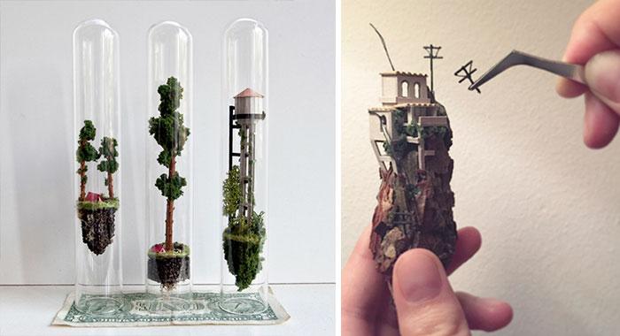 Esta artista crea diminutos mundos flotantes en el interior de probetas de cristal