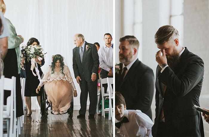 Esta novia paralítica sorprendió a todos al levantarse y caminar hacia el altar