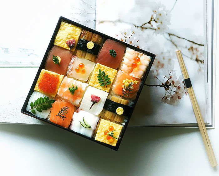 """La tendencia """"Sushi en mosaico"""" de Japón convierte el almuerzo en obras de arte comestibles"""