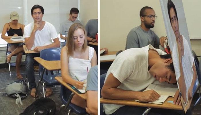Este chico encontró una ingeniosa forma de que no le pillen durmiendo en clase