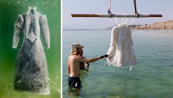 Este artista dejó sumergido un vestido en el mar Muerto 2 años y se convirtió en brillantes cristales de sal