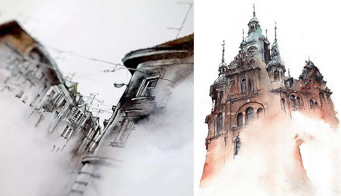 Esta artista coreana hace acuarelas de las ciudades que visita