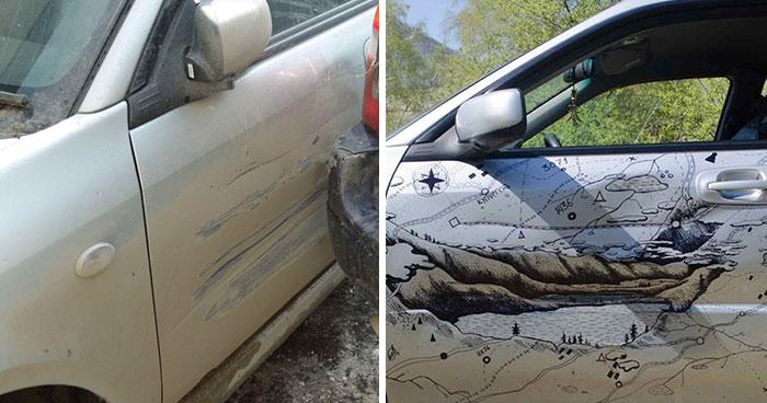 """Cuando un camión abolló el coche de este ruso, decidió """"arreglarlo"""" de la forma más creativa"""