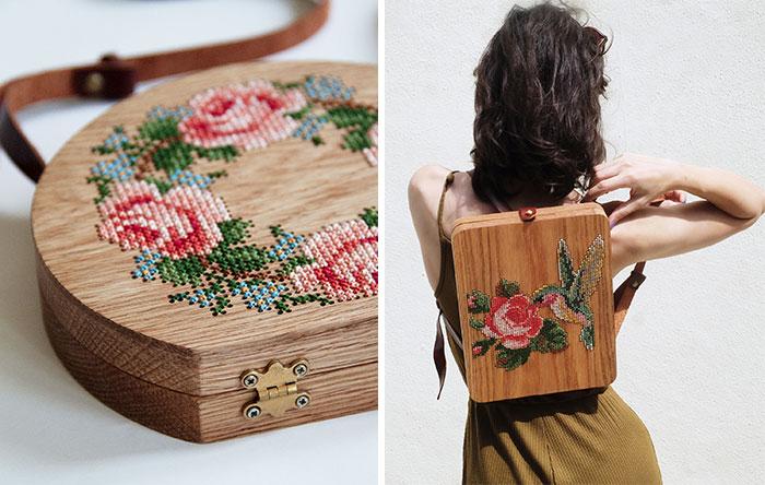 Bolsos de madera con diseños de la naturaleza añadidos en punto de cruz