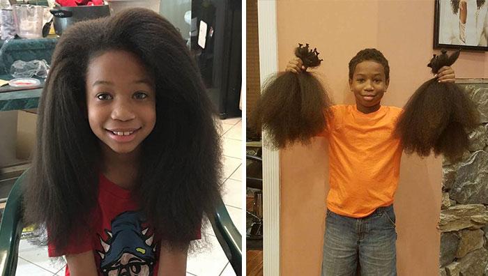Este niño de 8 años se dejó crecer el pelo durante 2 años para hacer pelucas para niños con cáncer