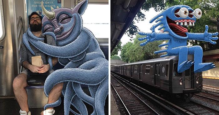 Este artista añade monstruos junto a los pasajeros del metro