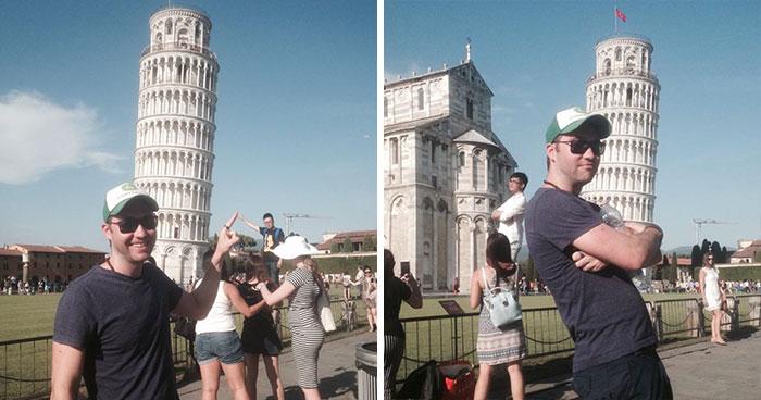 Este hombre troleó a otros turistas en la torre inclinada de Pisa y sacó las mejores fotos