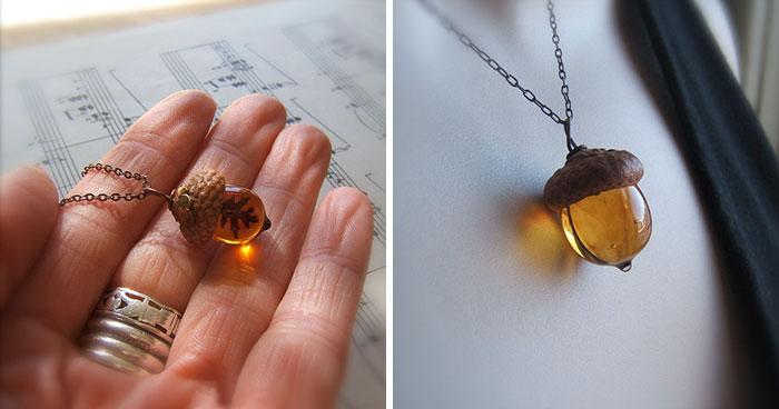 Estos colgantes de cristal en forma de bellota son el accesorio perfecto para el otoño