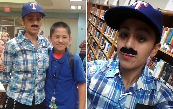 """Esta madre soltera se disfrazó de padre para que su hijo no se perdiera el día de """"Donuts con papá"""" en el colegio"""