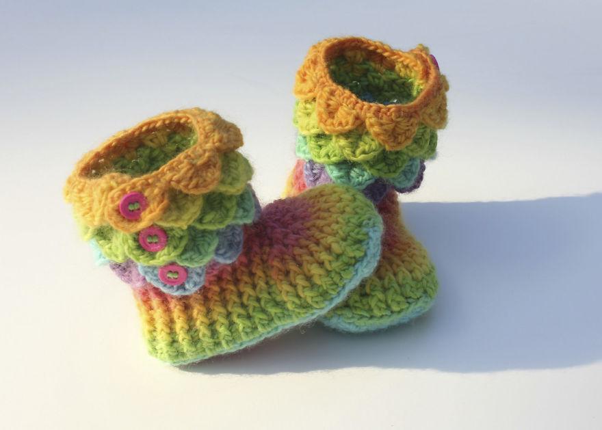 Zapatillas de dragón con escamas de ganchillo para tener los pies ...