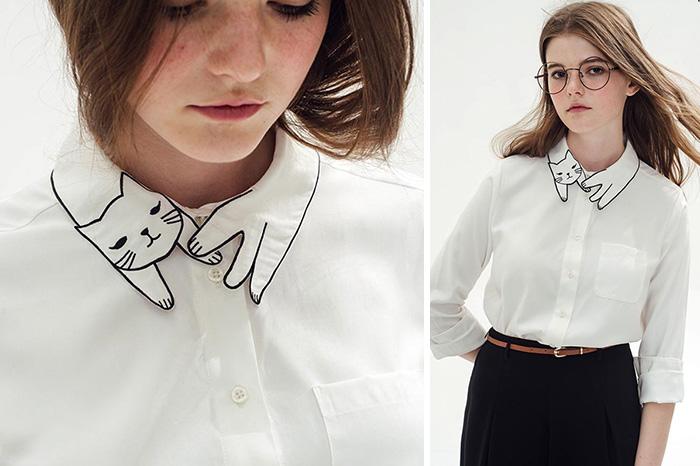 Este cuello de camisa es perfecto para las locas por los gatos