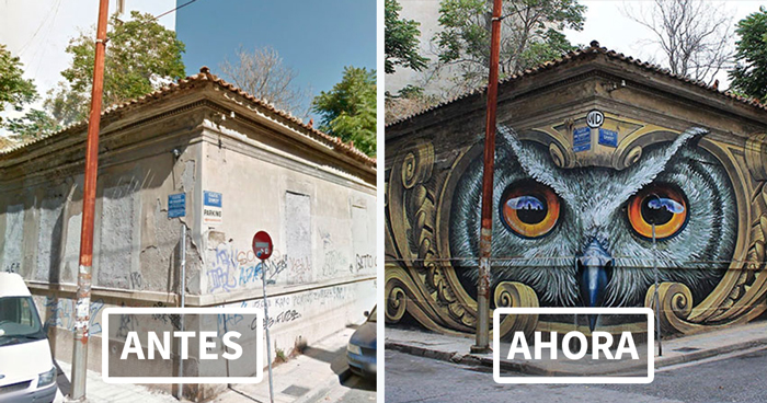 15 Fotos increíbles con el antes y después de transformaciones con arte urbano que te alucinarán