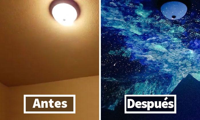 Esta mujer pintó una galaxia que brilla en la oscuridad para un niño que no podía dormir, y se quedó alucinado