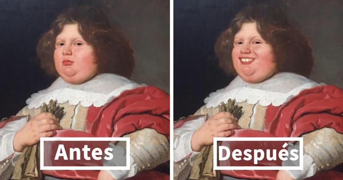 Este hombre visitó un museo, pero los cuadros le parecieron muy serios y utilizó FaceApp para hacerles sonreír