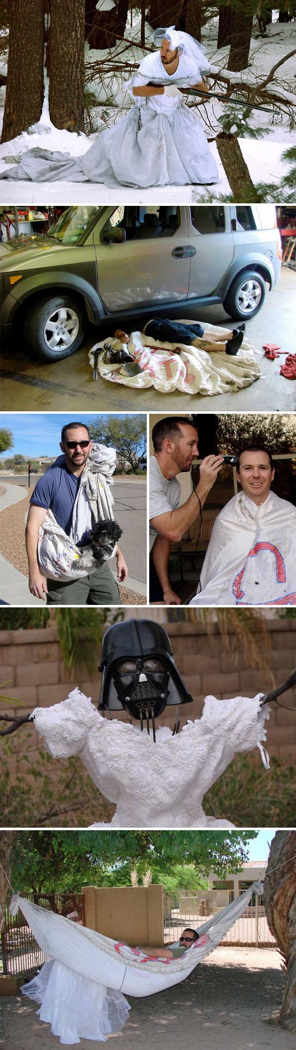 Este Hombre Encontró Más De 100 Maneras De Usar El Vestido De Boda De Su Exmujer