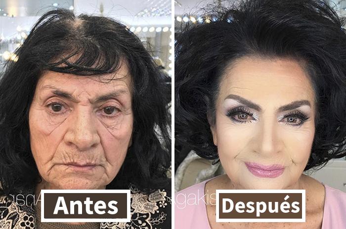 Este maquillador hace que clientas octogenarias parezcan décadas más jóvenes, mostrando el poder del maquillaje