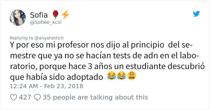 Este profesor de biología reveló accidentalmente a una alumna que su padre no era su padre