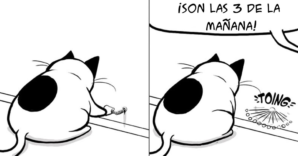 Mi esposa insistió en que subiera estos cómics a internet: van sobre un gato que adoptamos hace unos meses
