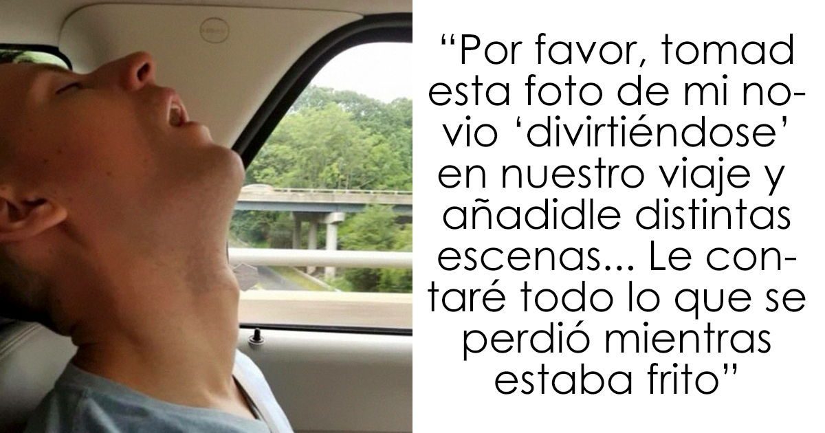 Este hombre se durmió durante un viaje y su novia pidió en internet que photoshopearan lo que se perdió por el camino
