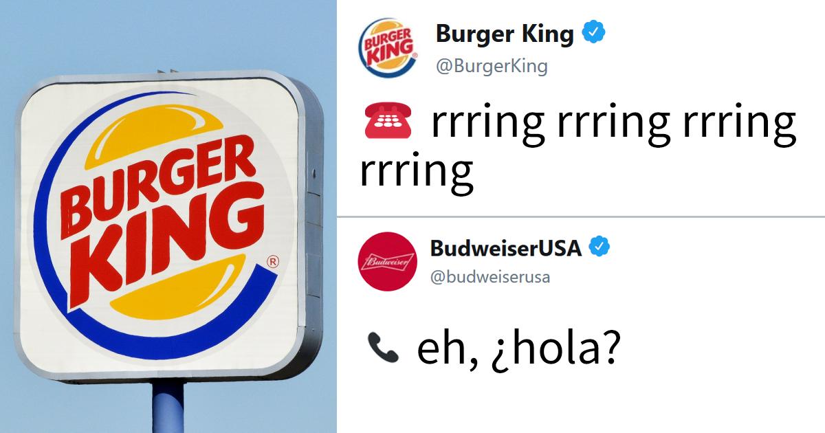 Burger King y Budweiser han tenido una conversación rarísima en Twitter, y cada mensaje es más demencial que el anterior