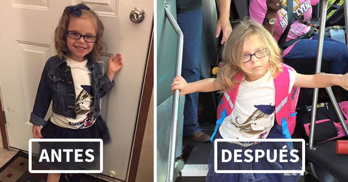27 Divertidas fotos de niños antes y después de su primer día de clase