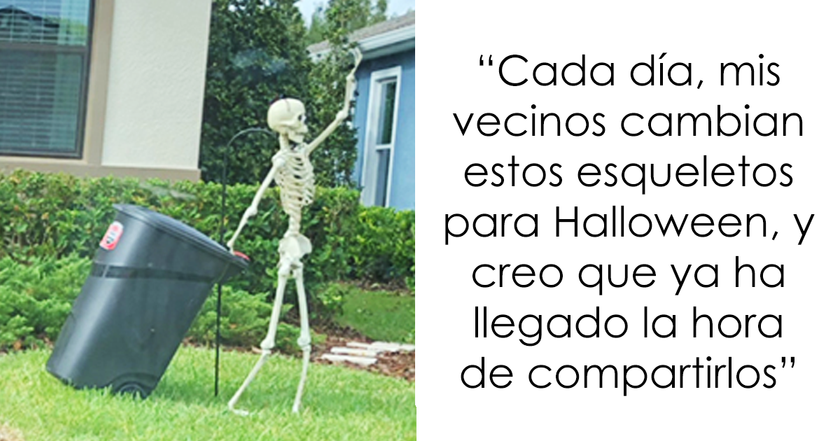 Esta chica se dio cuenta de que los esqueletos de Halloween de sus vecinos cambian cada día, y es divertidísimo