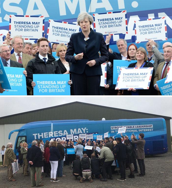 Theresa May En El Lanzamiento De Su Autobús De Campaña En Northumberland