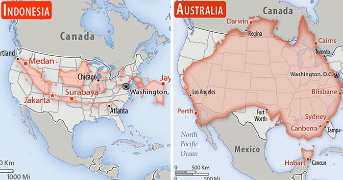 30 países comparados con Estados Unidos en una perspectiva a escala real