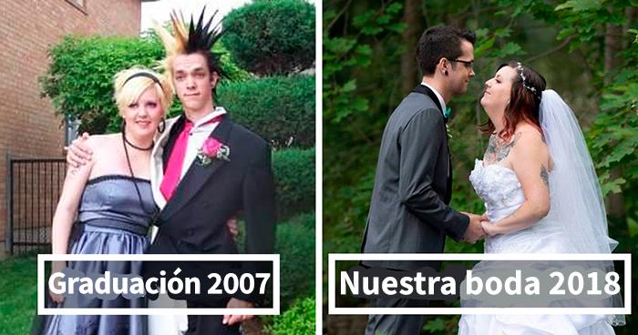 20 Personas que se casaron con su pareja de graduación y compartieron las fotos de antes y después