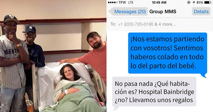 Esta familia envió sin querer un mensaje sobre un parto a unos desconocidos, ellos les visitaron y trajeron regalos para el bebé