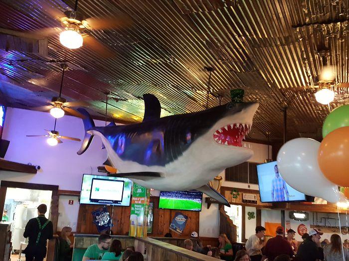 Esto Solía Ser Un Restaurante De Pescado Y Marisco, Ahora Es Un Restaurante Irlandés, Y En Vez De Quitar El Tiburón Le Han Puesto Un Gorro De Leprechaun