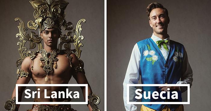 Los concursantes de Mister Global se visten con sus trajes regionales y parecen jefes de videojuego