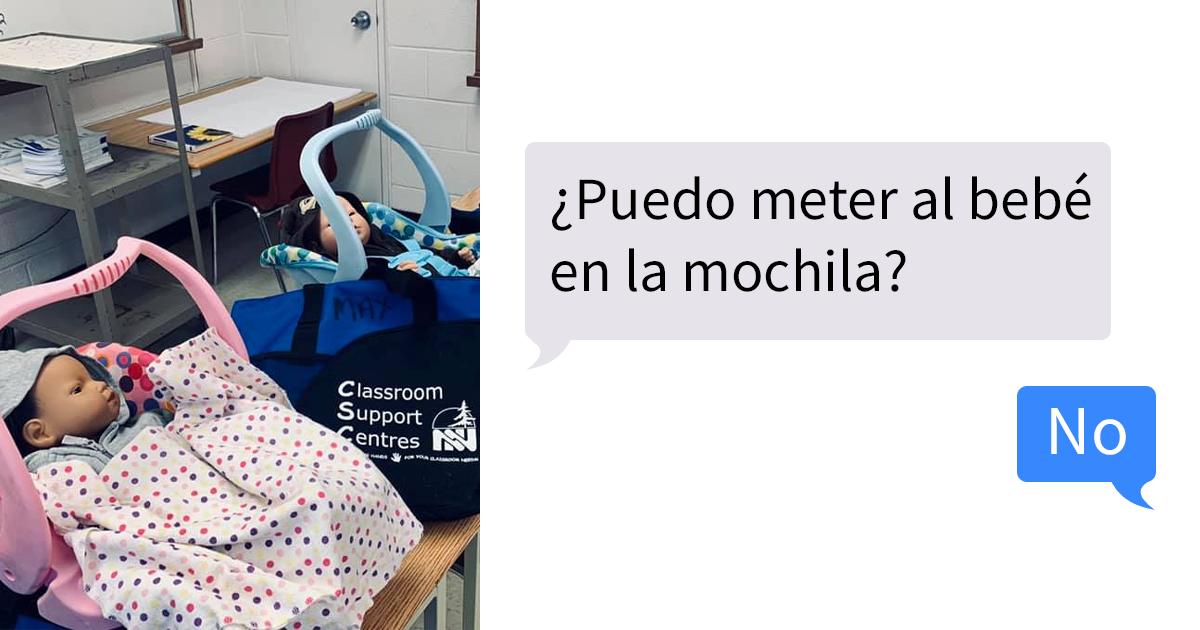 Estos adolescentes se llevaron a casa unos bebés falsos para un proyecto sobre paternidad, y la profesora compartió sus mensajes desesperados