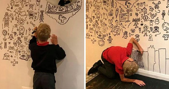 Un Chico De 9 Años Edad Que Tuvo Problemas En Clase Por Garabatear Consigue Un Trabajo Para Decorar Un Restaurante Con Sus Dibujos