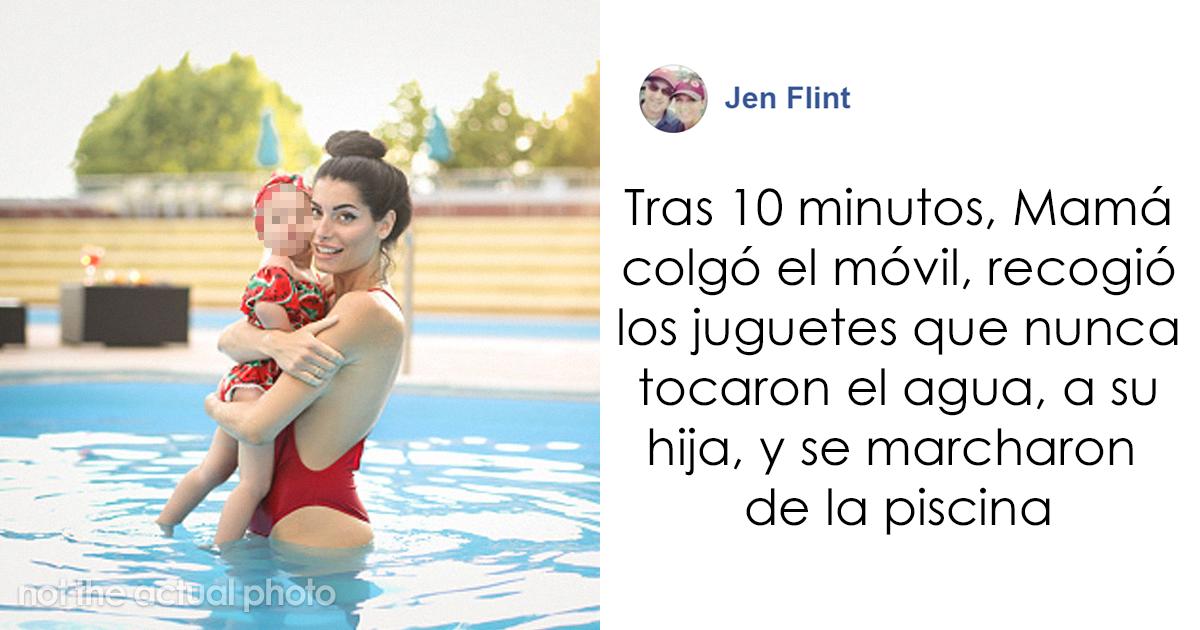 """Esta mujer muestra lo que hace una madre """"perfecta de Instagram"""" tras ignorar a su hija en la piscina, para que no creas en las redes sociales"""