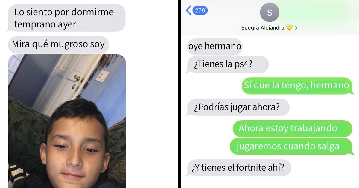 Este hermanito escribe al novio de su hermana desde el móvil de ella y los adorables mensajes se vuelven virales