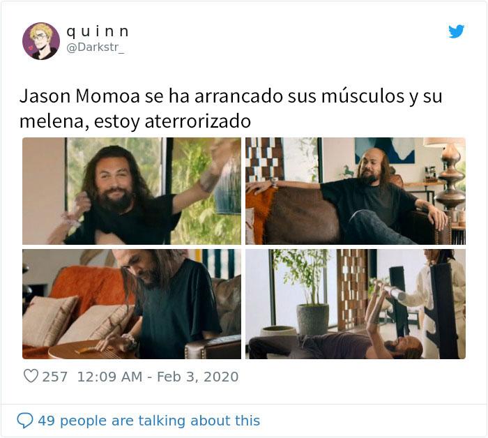 Jason Momoa se quita los músculos y el pelo en un curioso anuncio durante la Superbowl