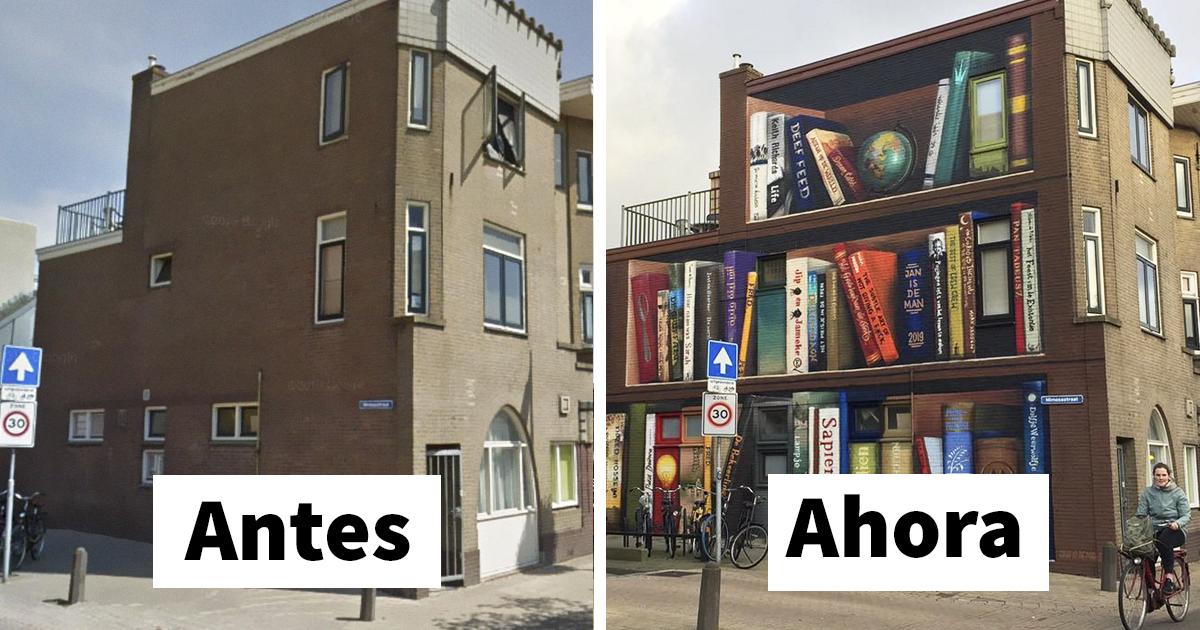 Estos artistas holandeses pintaron una librería gigante en la pared de un edificio, con los libros favoritos de los residentes