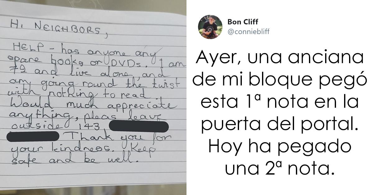 Esta anciana en cuarentena se aburre y vive sola, así que pidió libros a sus vecinos, que amablemente se los dejaron