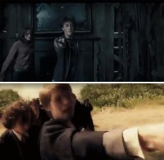En El Prisionero De Azkaban, Snape Les Hace Un Gesto A Harry, Ron Y Hermione Para Que Se Vayan. Harry Traiciona Su Confianza Dejándolo Ko, Usando El Mismo Hechizo Que Usó Su Padre En El Flashback Del Bullying En El Príncipe Mestizo