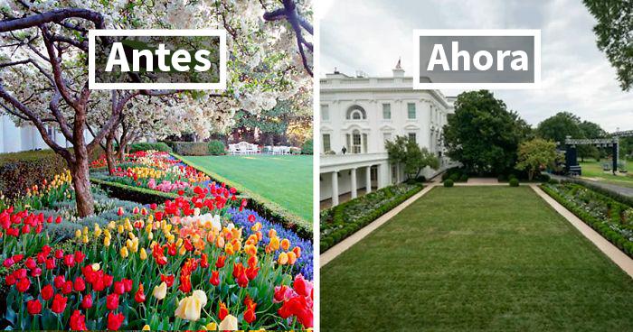 La gente ridiculiza con brutales tuits la renovación del jardín de rosas de la Casa Blanca que ha hecho Melania Trump