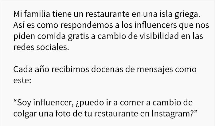 Este restaurante muestra cómo callar a los influencers que piden comida gratis a cambio de visibilidad