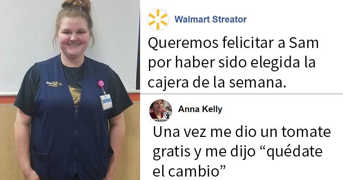 Walmart da la enhorabuena a su cajera de la semana y la gente empieza a compartir divertidas historias sobre ella
