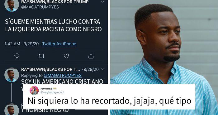 Este falso votante negro de Trump en Twitter olvidó recortar la etiqueta de búsqueda de su foto de perfil, y la gente se ríe de él