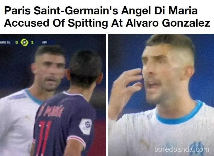 El Futbolista Angel Di Maria Escupió Al Jugador Del Equipo Contrario Alvaro Gonzalez. Di Maria Tenía Covid 2 Días Antes Del Partido