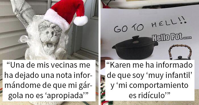 Una vecina deja notas quejándose de la decoración navideña de esta mujer, así que ella no para de añadir más