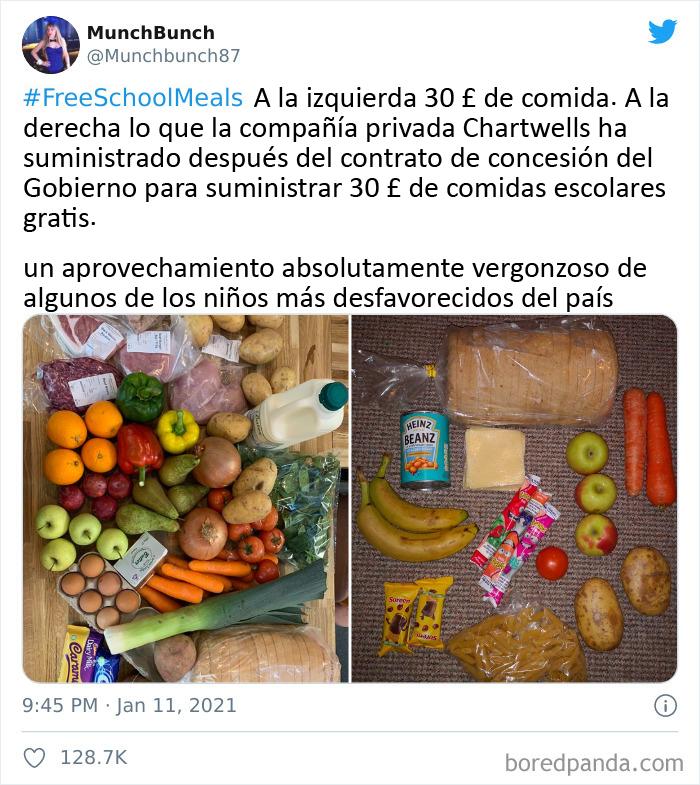 """Una Madre Compara Qué Comida Puede Comprar Por 30£ Frente A Cómo Es El Paquete De Alimentos Del Gobierno De """"30£"""""""