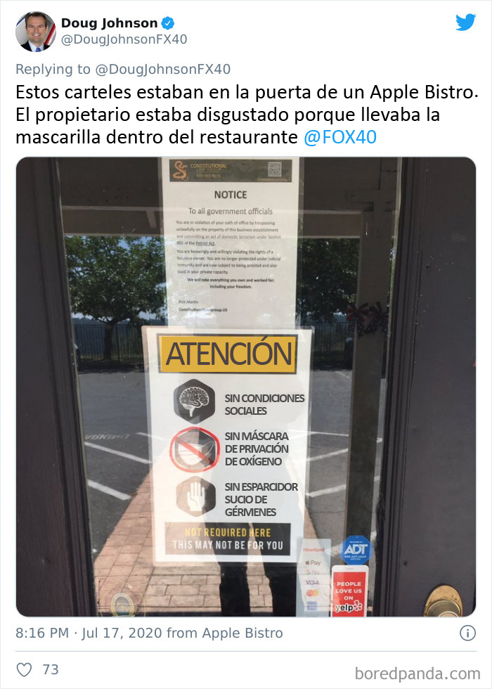 """Un restaurante prohíbe las máscaras, los guantes y el distanciamiento social por la """"libertad"""""""