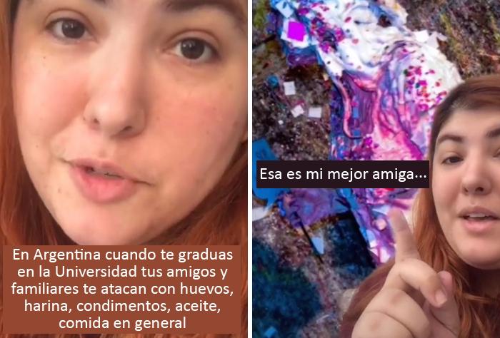 En Argentina, cuando te gradúas de la universidad tus amigos y familiares te atacan con comida y pintura