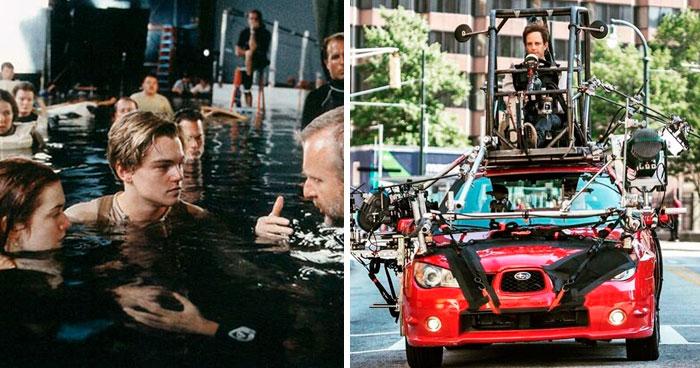 30 Fotos que revelan los trucos que se usan en el cine